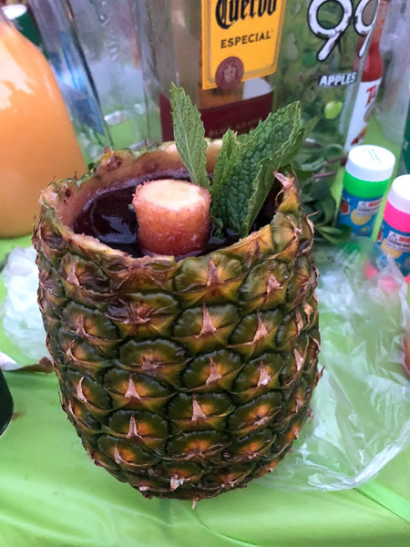 Sangria in pineapple cup