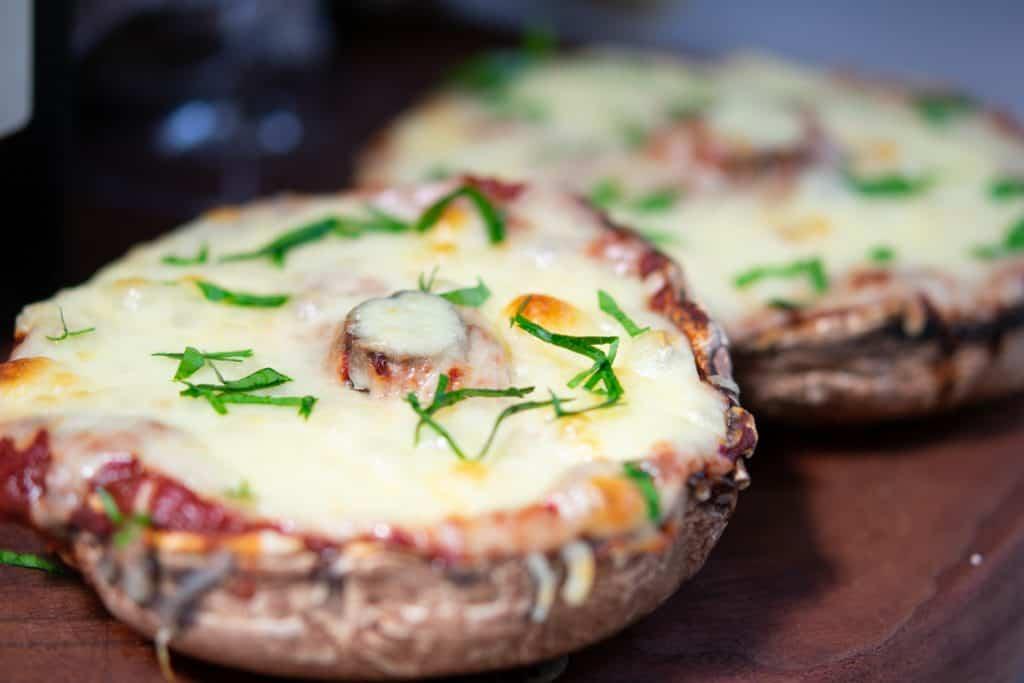 baked vegetarian portabella mushroom pizza