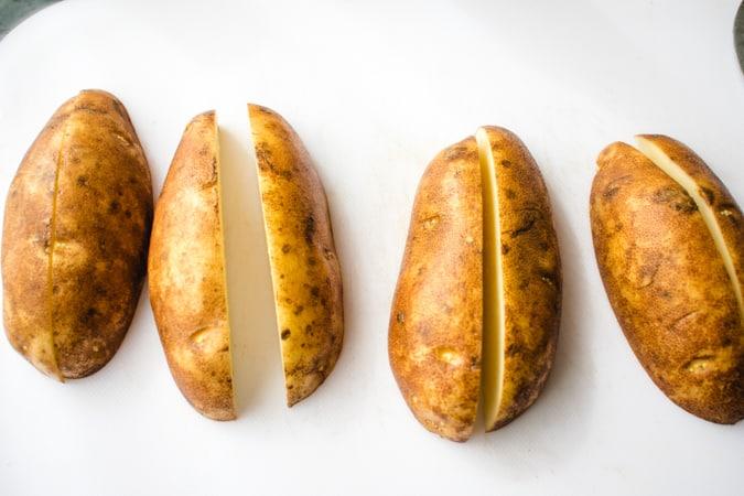 russet potatoes cut into quarters